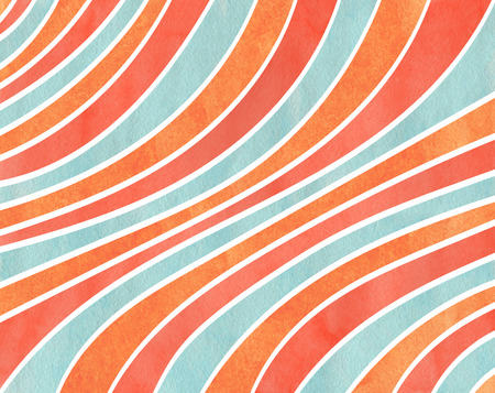 Watercolor salmon red, blue and carrot orange striped background. Curved line pattern.