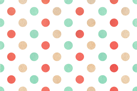Watercolor strawberry red, beige and seafoam blue polka dot background. Pattern for scrapbooks, wedding, party or baby shower invitations.