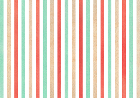 Watercolor strawberry red, beige and seafoam blue striped background.