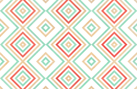 Watercolor geometrical pattern in strawberry red, beige and seafoam blue colors. For fashion textile, cloth, backgrounds. Banco de Imagens