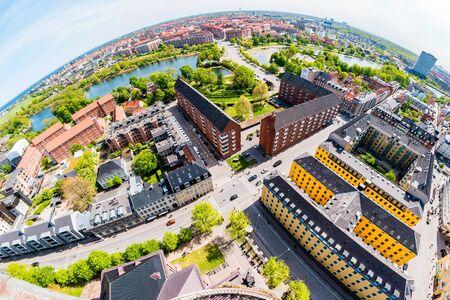 Beautiful aerial view of Copenhagen from above, Denmark.