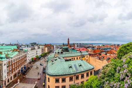 View of the city centre and the port of Helsingborg in Sweden.