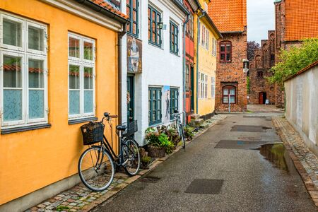 Street view with colorful buildings in Helsingor, Denmark. Фото со стока