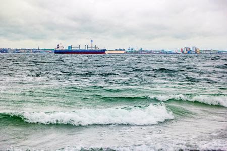 Helsingborg, Sweden - May, 2019: The tanker SCF passes Helsingborg harbor in Sweden.