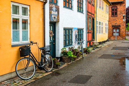 Street view with colorful buildings in Helsingor, Denmark. Редакционное