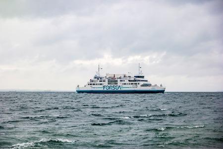 Helsingor, Denmark - May, 2019: Ferry on the route between the port of Helsingor in Denmark and the port of Helsingborg in Sweden.