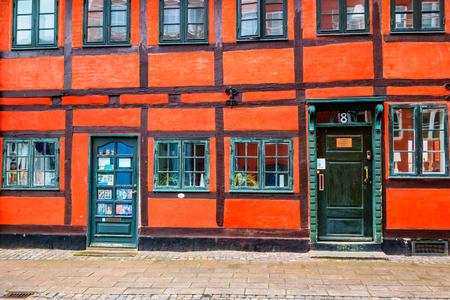 Helsingor, Denmark - May, 2019: Exterior architecture. Facade of building in Helsingor, Denmark. Редакционное