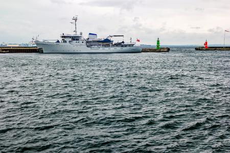 Helsingor, Denmark - May, 2019: Ship in Helsingor (Elsinore) harbor, Denmark. Редакционное