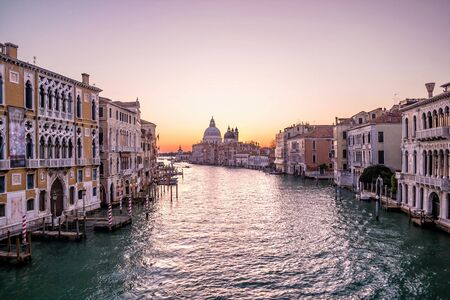 Sunrise in Venice. View from the Ponte dell Accademia to the Grand Canal.