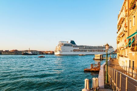 Ocean cruise liner arriving in the morning to port of Venice.