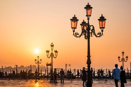 Sunrise in Venice. View of the Venetian lagoon from San Marco square.