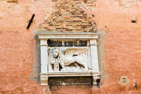 Lion of Venice, located in Castello Sestiere in Venice, Italy. Standard-Bild