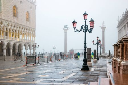Mystical foggy early morning in Venice, Italy.