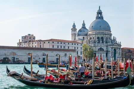 Wenecja, Włochy - październik 2019: Malowniczy widok na gondole na Canal Grande z bazyliką Santa Maria della Salute w tle, Wenecja, Włochy.