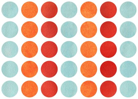 Watercolor circles in red, blue and orange color. Pattern with color circles for scrapbooks, wedding, party or baby shower invitations.
