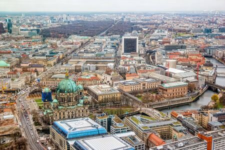 Aerial view of central Berlin from the top of TY tower.