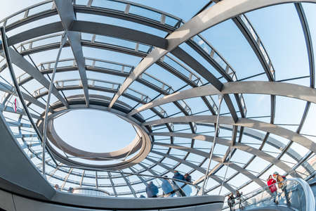 Berlin, Germany - December, 2019: Glass dome on the top of the Reichstag in Berlin, Germany. Redakční