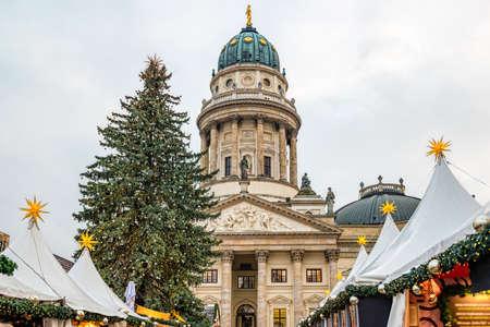 Christmas market on Gendarmenmarkt in Berlin, Germany.