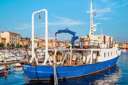 Rovinj, Croatia - October, 2019 Boat in Rovinj Croatia