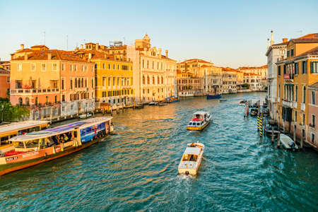View of famous Grand Canal at sunrise in Venice, Italy.