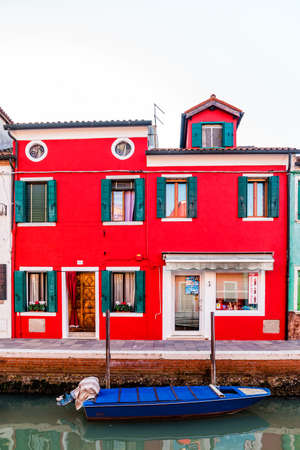 Venice, Italy - October, 2019: Burano, an island in the Venetian Lagoon.