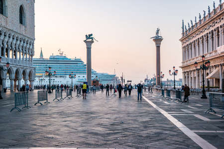 Venice, Italy - October, 2019: Ocean cruise liner arriving in the morning to port of Venice. Editorial