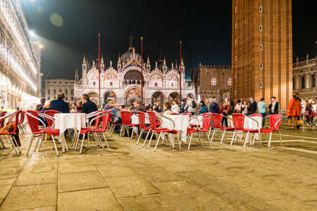 Venice, Italy - October, 2019: Night view of San Marco Square in Venice, Italy