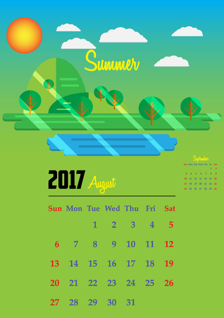 Calendar for 2017, Calendar with seasons illustrations 2017, Calendar 2017 Vector EPS10, Calendar 2017 simple style, Calendar 2017 year, Calendar 2017 Vector, Calendar 2017 Template - stock vector