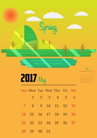 Calendar for 2017, Calendar with seasons illustrations 2017, Calendar 2017 Vector EPS10, Calendar 2017 simple style, Calendar 2017 year, Calendar 2017 Vector, Calendar 2017 Template - stock vector