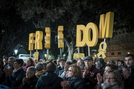02122019. Concentration in Place of Catalonia, in Barcelona, in favor of self-determination and for the freedom of political prisoners. Convened by different entities such as ANC and Omnium Cultural Editorial