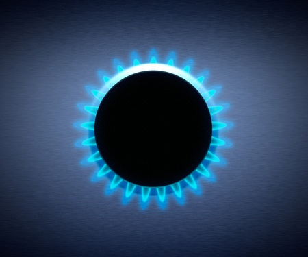 Cocina con gas natural, fuente de energ�a de combustibles f�siles
