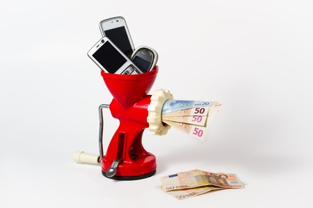 converting: Sell your old mobile phones to win money and help the environment by recycling, ecological attitude.