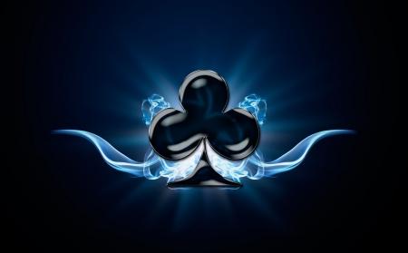 poker card: Clubs, Poker symbol shrouded in smoke on black background