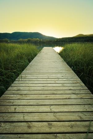 Oto�o noche en el muelle de madera del lago de Banyoles rodeado de ca�as Foto de archivo
