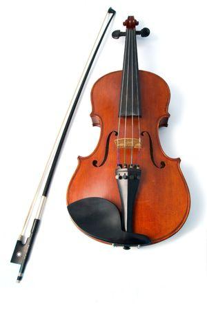concerto: Aislados voilin proa y en fondo blanco Foto de archivo