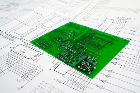 Printed circuit board and schematic Stock Photo