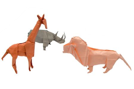 A set of origami African animals photo