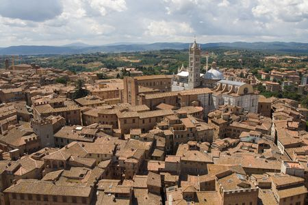 hillside: View of Siena cityscape from the top of a tower Stock Photo