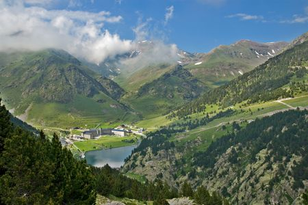 Vall de Nuria Sanctuary in the catalan pyrenees, Spain