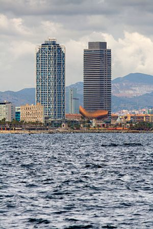 Barcelona Twin towers at the Port Olympic, view from the sea Stock Photo