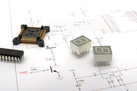 Electronic components on schematic drawings  Stock Photo - 5799765