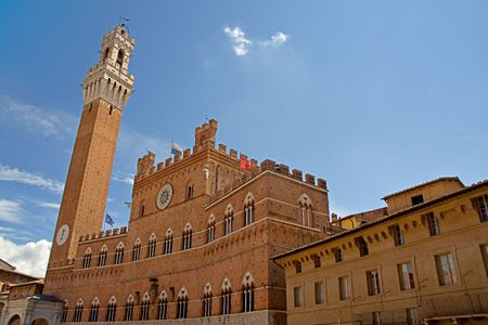 palazzo: Siena tower in the  Palazzo Pubblico, Tuscany, Italy