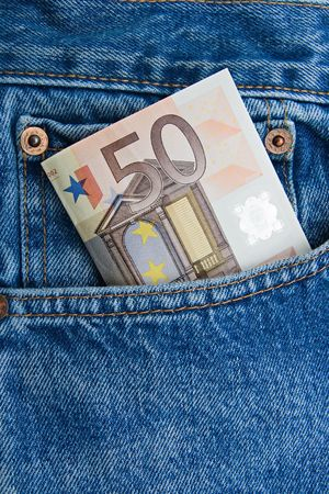 50 euro: 50 euro note in a blue jeans pocket Stock Photo