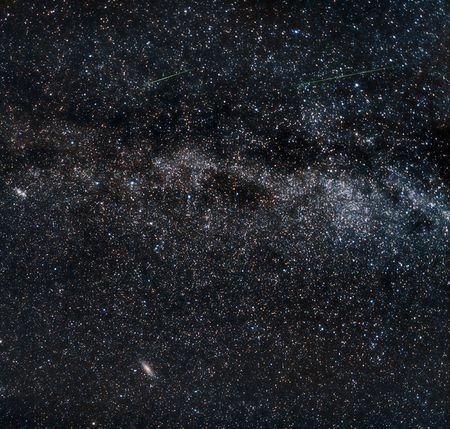 andromeda: Perseid meteors on the milky way