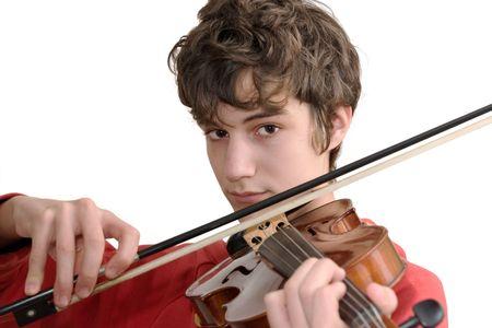 violines: Adolescente tocando el viol�n aislado en blanco puro Foto de archivo