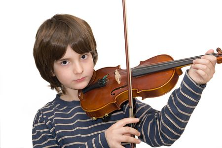 Boy playing violin isolated on white background photo