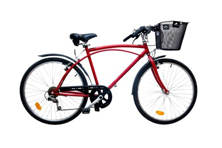 Red bicycle isolated on pure white background Stock Photo