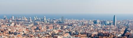 panorama city panorama: Panorama de horizonte de Barcelona Foto de archivo
