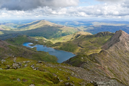 Mountain view from the Snowdon summit, Snowdonia, Wales Stock Photo - 10610164