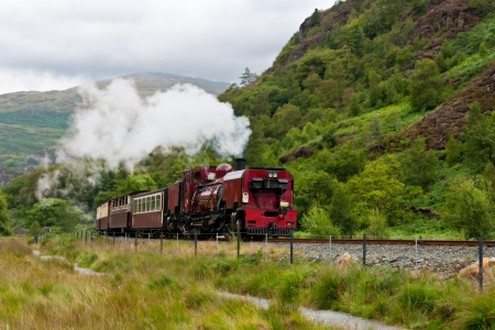 Steam train in Snowdonia, Wales photo